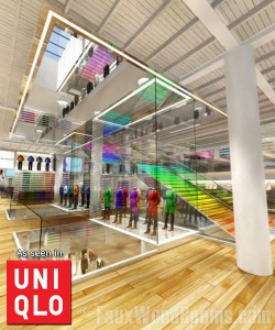 Faux wood beams can create a sleek, modern look like they did for this Uniqlo store