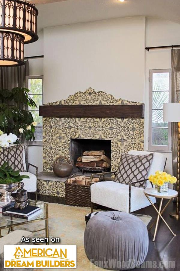 A sandblasted faux wood mantel added to this Spanish-style fireplace on an episode of American Dream Builders.