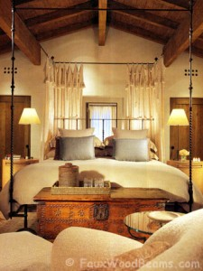 Real wood box beams add charm and warmth to a bedroom.