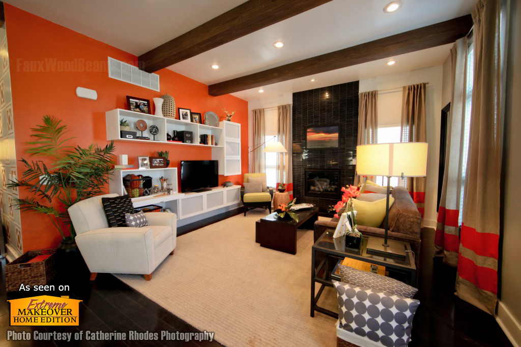 Living room of a modern cottage style home featured on Extreme Makeover: Home Edition