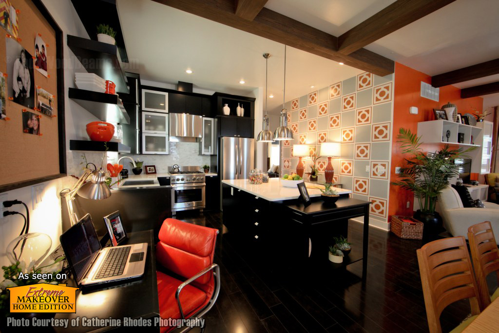 Eclectic, brightly colored kitchen area balanced with wood style ceiling beams.