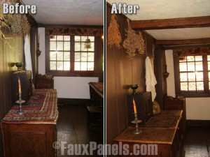 Before and after photos of a medieval-themed bedroom remodeled with ceiling beams.