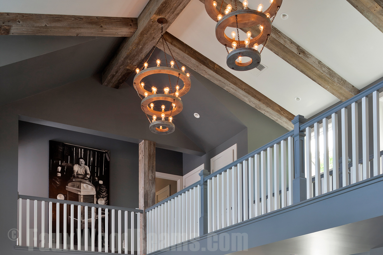 Salvaged wood box beams are a fantastic design element for any ceiling.