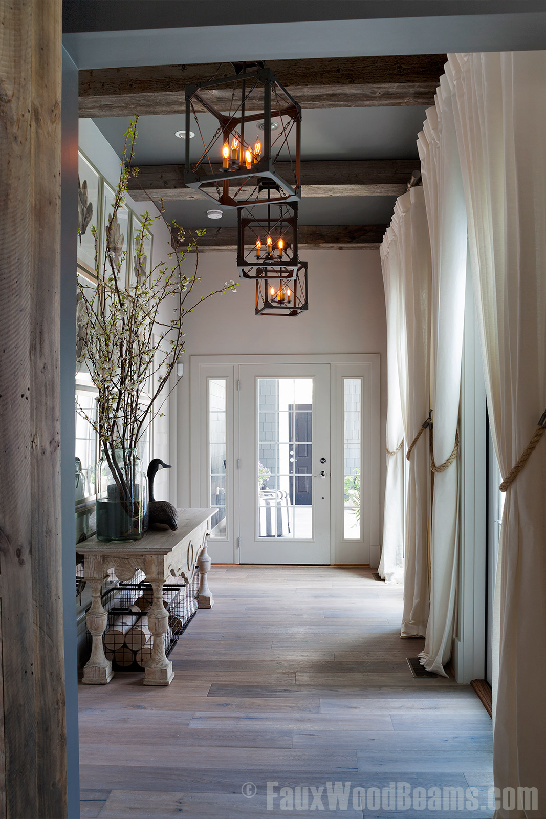 Salvaged wood beams are a great way to add elegance to interiors.