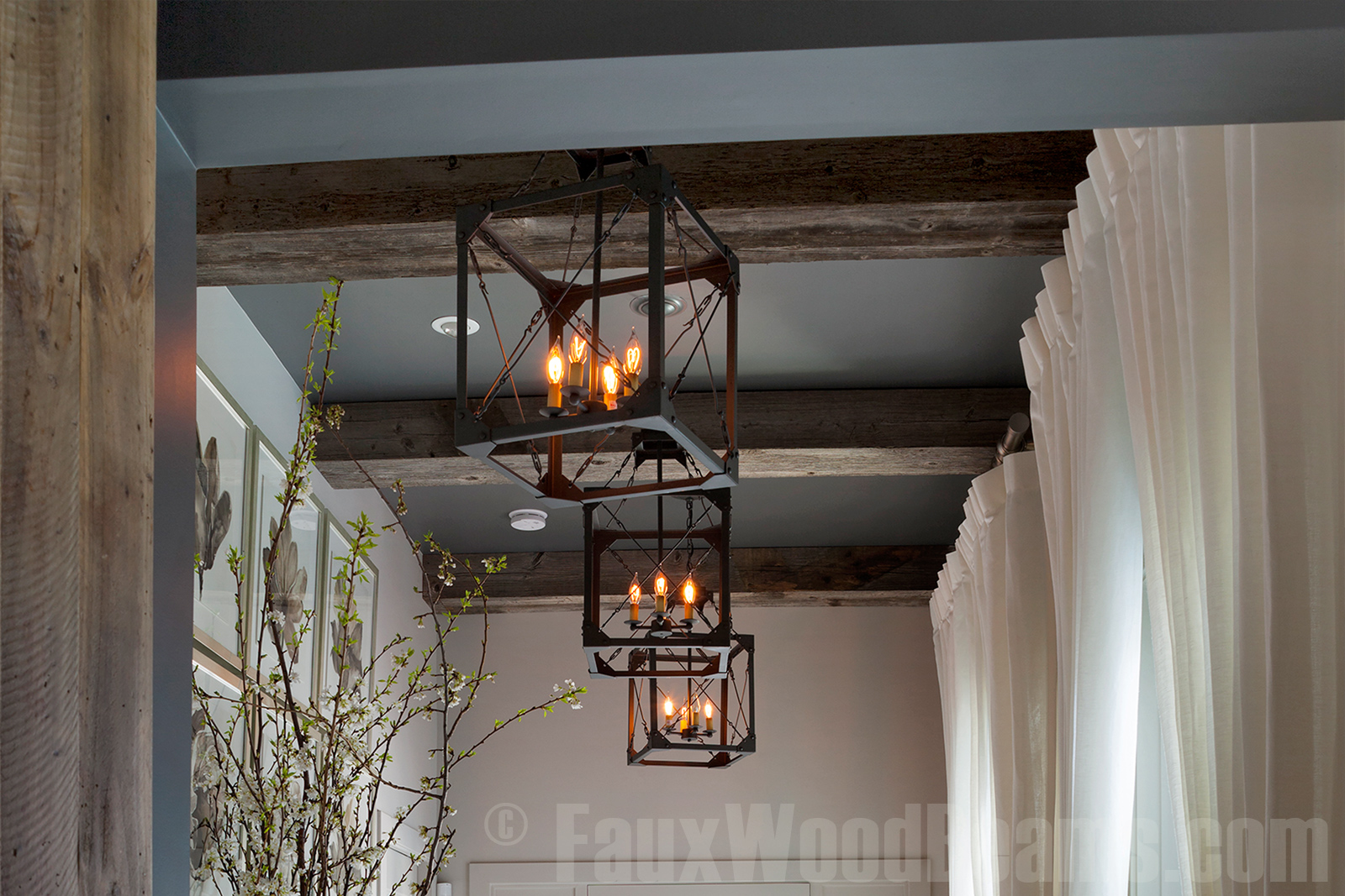 Reclaimed wood box beams are a fantastic design element for any ceiling.