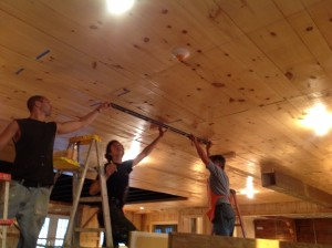 Installing beams on Daryl's Restoration Over-Hall TV show.
