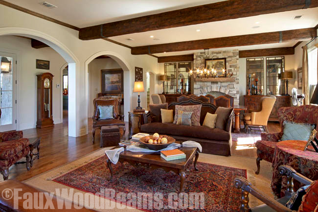 Living room ceiling remodel with Custom Timber Beams.