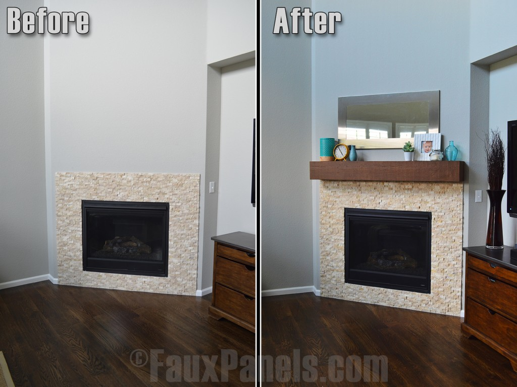 Before and after photo of a faux fireplace mantel installed.