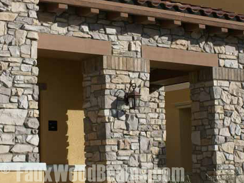 L-headers blend beautifully with a home's stone entranceway