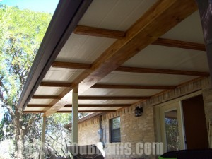 Faux beams look as good as the real thing, but are made from termite-proof material.