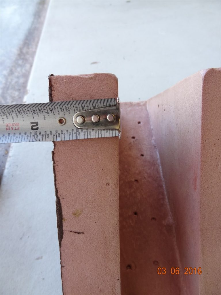 3. Measure thickness of each corbel