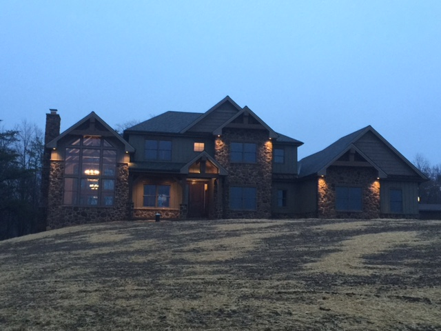 Beautiful custom built dream home in Pennsylvania, with a stone and timber exterior.