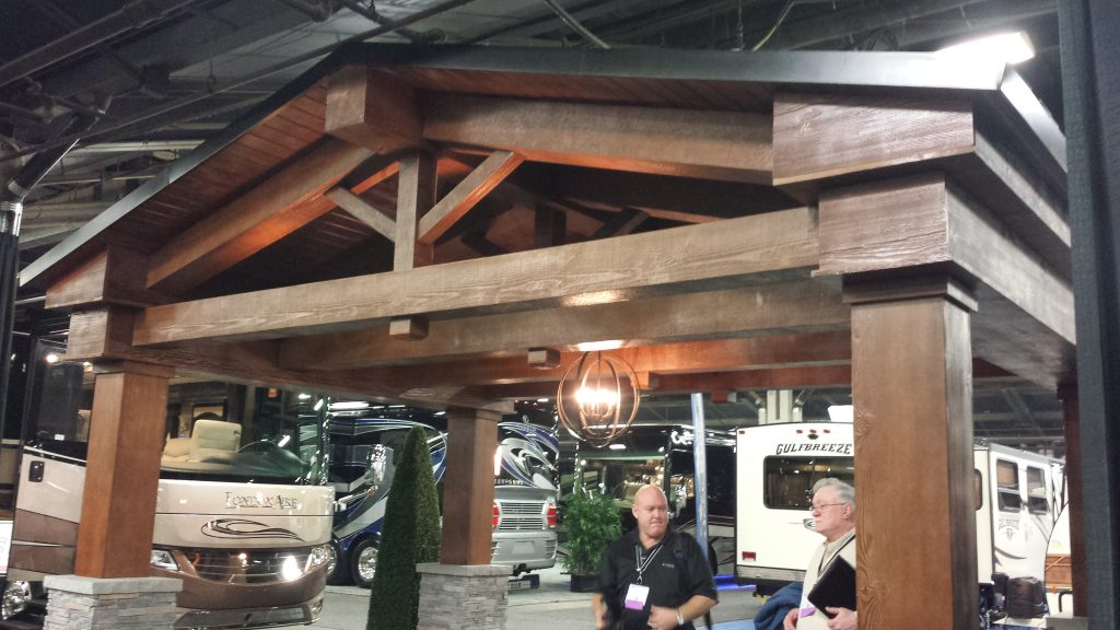 Close up view of the Newmar Corporations show exhibit for their line of RVs.