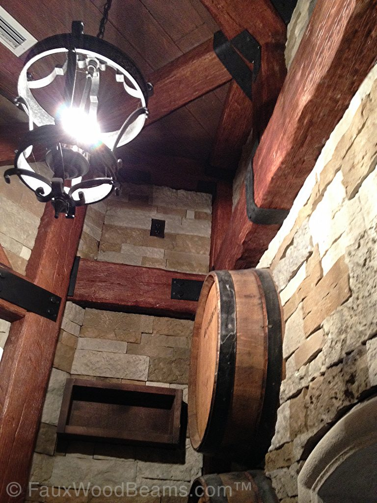 Wine cellar with Custom Timber Beams