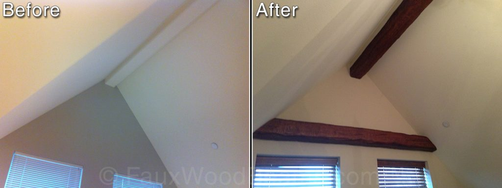 Bedroom before and after with beams added to the ceiling and wall