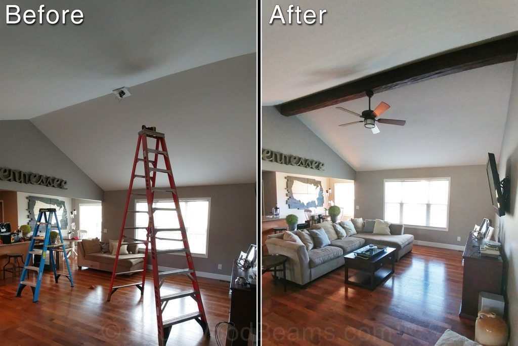 Before and after photos of a living room remodeled with a single Custom Timber beam.