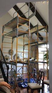 DURING: Scaffolding was need to reach the ceiling, but the beams lightweight nature helped ease the challenge.
