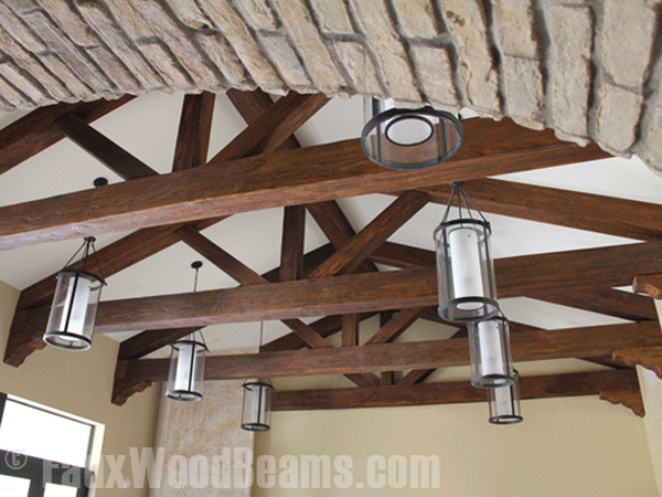 Decorative trusses built with Custom Heavy Sandblasted beams