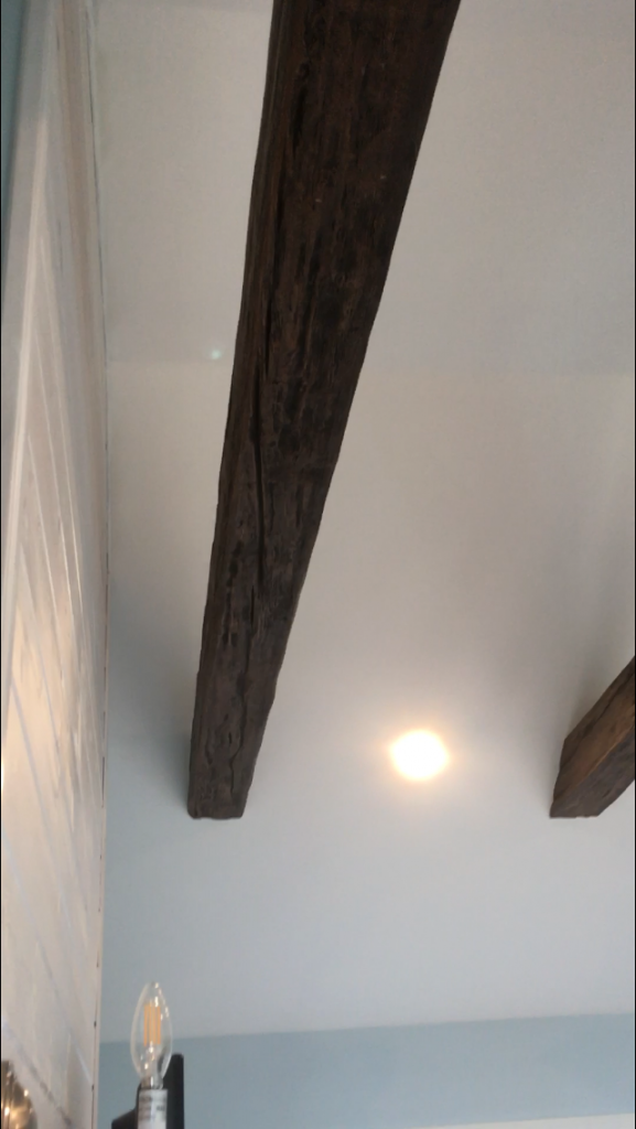 The Custom Timber Beam was slotted over the wooden support planks.