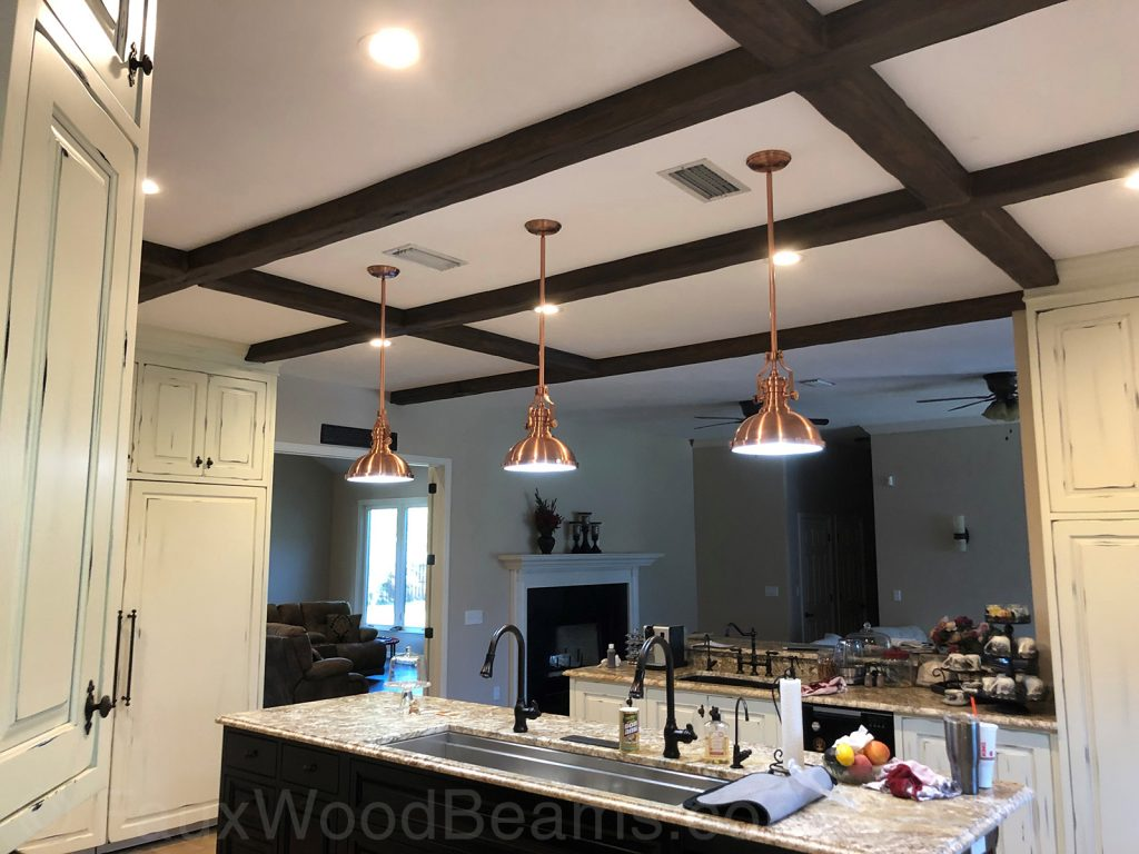 Kitchen with Custom Timber faux beams on the ceiling