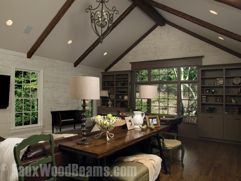 Den with Custom Timber beams installed on the A-frame ceiling